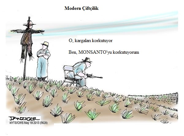 Farmers, US Agriculture, GM seeds, Monsanto, political cartoon